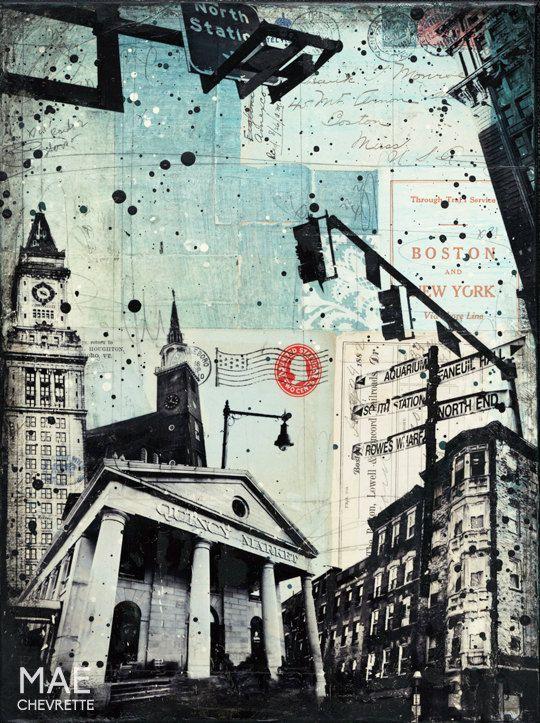 Local Boston No. 2 12 x 16 original Boston skyline by maechevrette ...