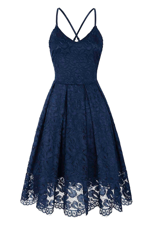 Blue Lace V Neck Backless Cocktail A-Line Dress #backlesscocktaildress