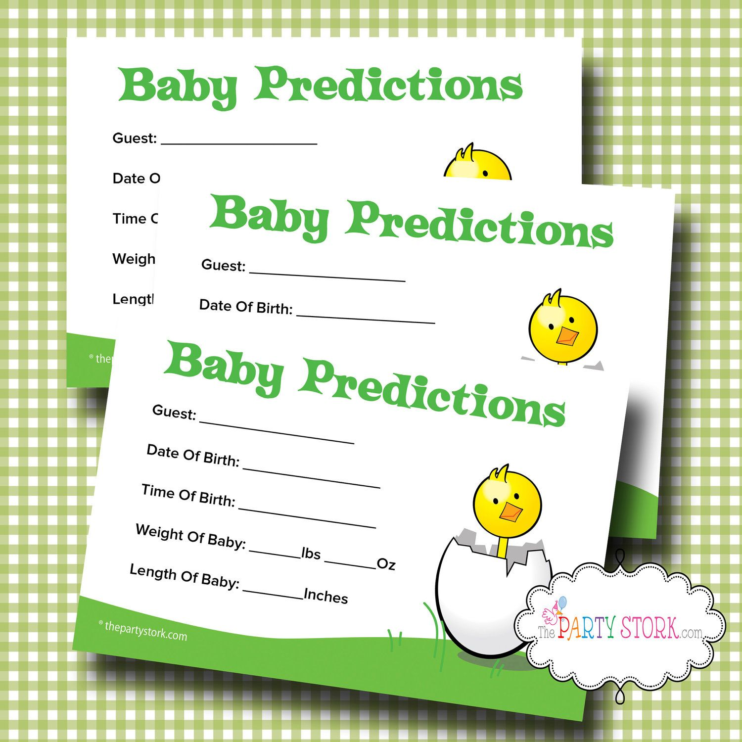 Rubber Duck Baby Shower Baby Sweepstake Game Cards BABY SHOWER