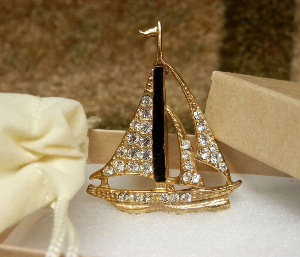 """Vintage Rhinestone & Enamel Sailboat Brooch Pin Tall Ship - Gold Plated 2"""" #Unsigned"""