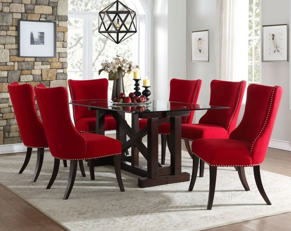 Contemporary Glass Dining Table With Contoured Back Red Chairs