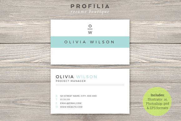 Modern #BusinessCard Template by Profilia Resume Boutique on - business card resume