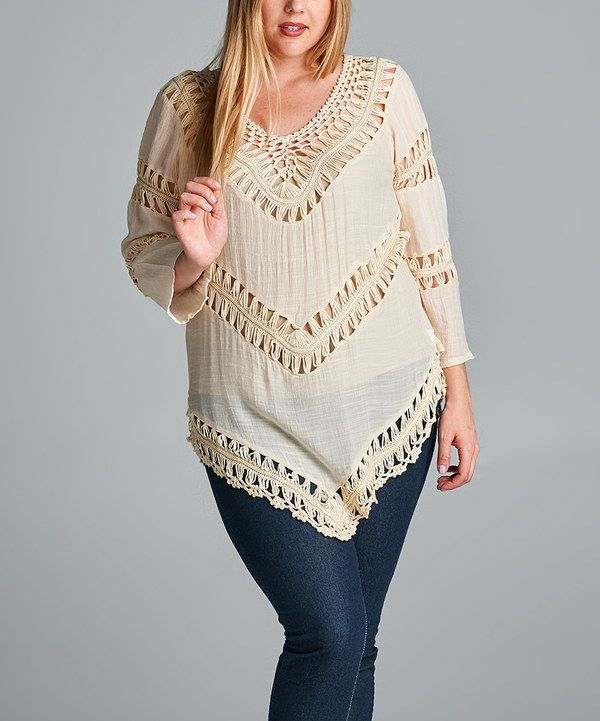 Look at this VELZERA Beige Crochet Tunic - Plus on #zulily today!