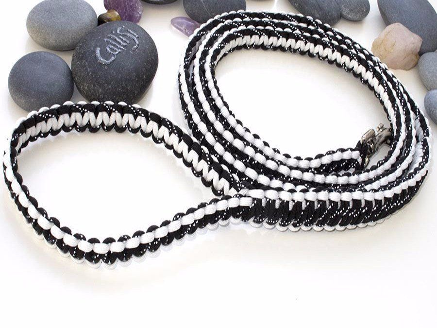 Reflective Black & White Paracord Dog Lead