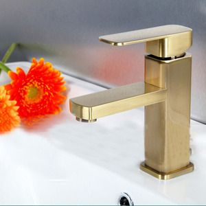 Simple Brushed Gold Square Shaped Bathroom Sink Faucet -USD $82.99 ...