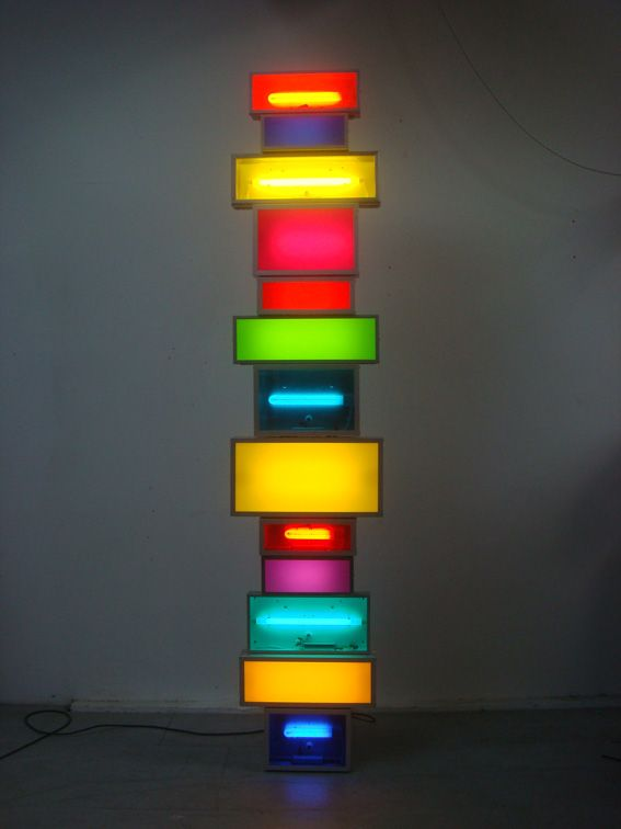 Spectotem 6 2010 Steel And Aluminium Lightboxes Steel Supports Acrylic Sheet Fluorescent Lights Cable 281 X 70 5 X 36 C Light Sculpture Light Art Light Box