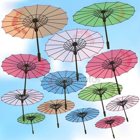 Descargar - Sombrillas de color decoradas con flores sobre fondo de cielo — Ilustración de Stock #106178802
