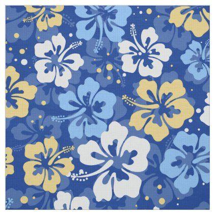 Tropical Hawaiian Hibiscus floral pattern Fabric