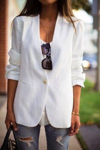 Beyaz Bol Kesim Yazlik Bayan Ceket Ilgili Fashion Casual Fashion Clothes
