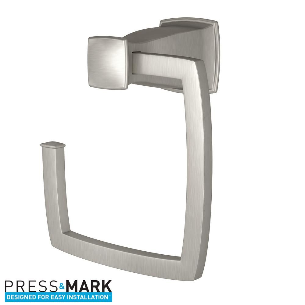 Moen Hensley Towel Ring With Press And Mark In Brushed Nickel