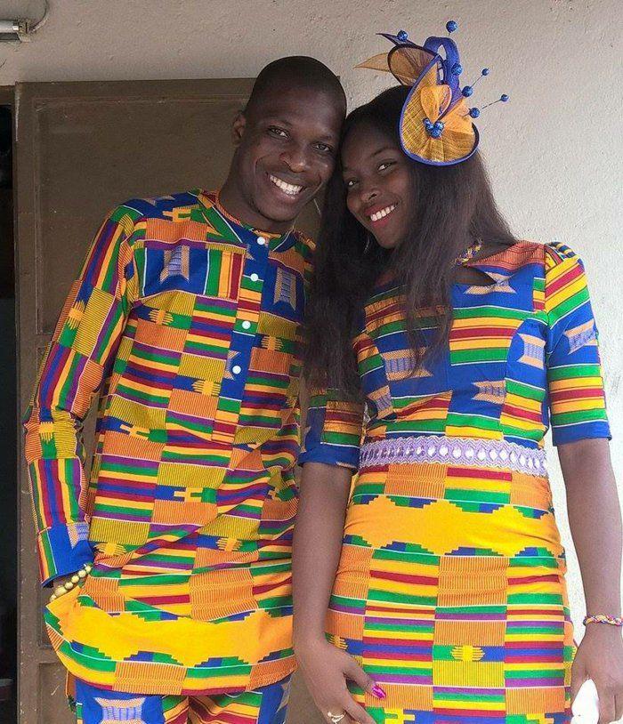 modele robe africaine, teues homme et femme, prints jaunes et bleus