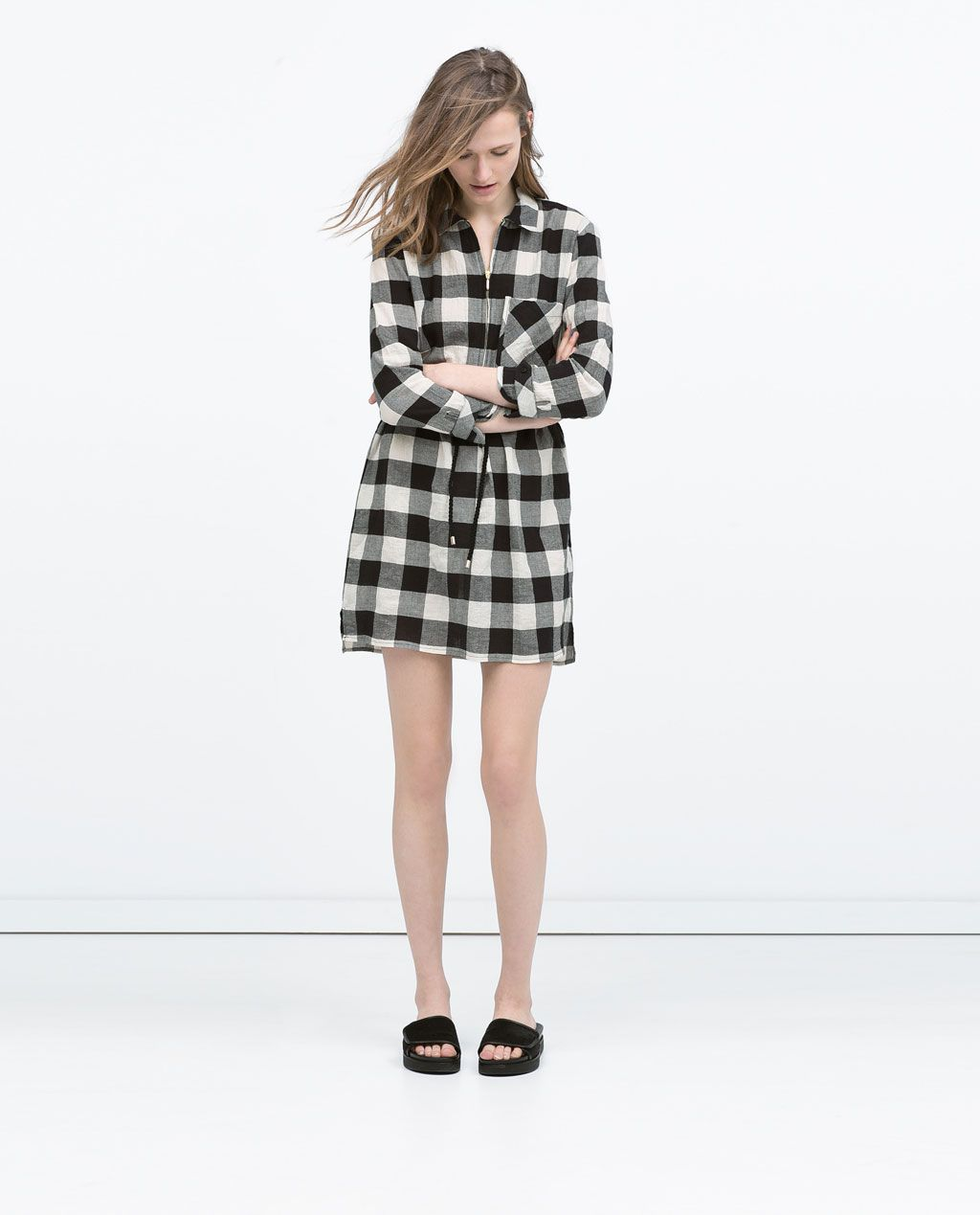 CHECKED SHIRT DRESS WITH BELT-Dresses-WOMAN | ZARA United States