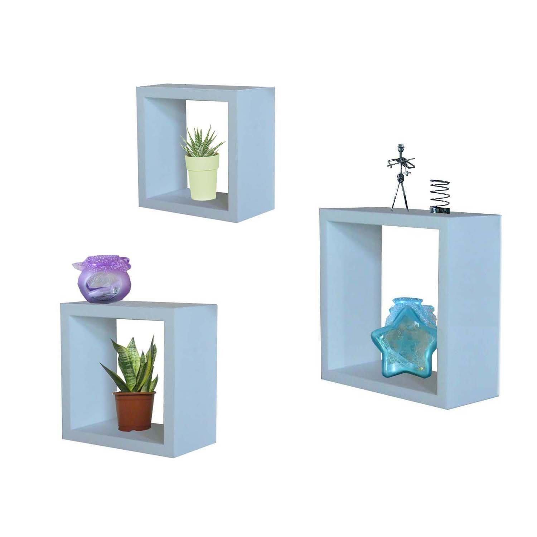 Sophisticated white wooden floating shelves square models for Decoration shelf