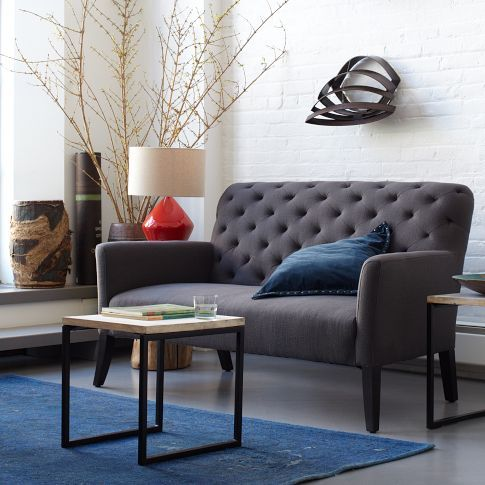 Elton Settee Upholstered In Iron Basketweave From West Elm