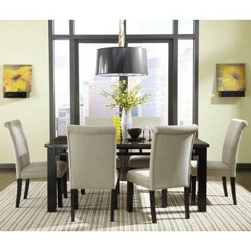 ecf8a63105f7 Standard Furniture Gateway Grey 7 Piece Dining Room Set w  Parsons Chairs  in Dark Chicory Brown