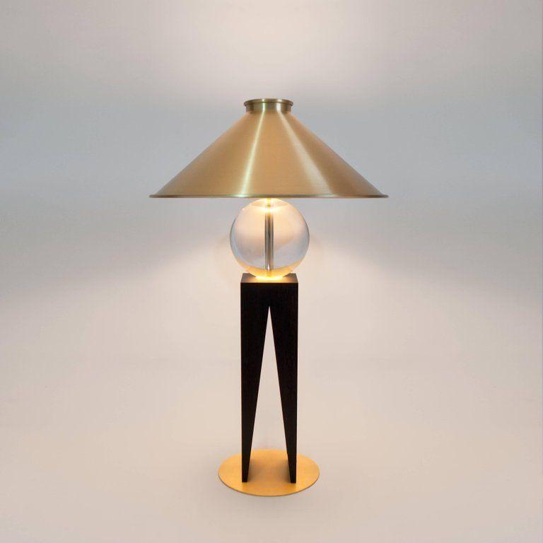 Contemporary V Lamp Extra Large Geometric Oak Base Glass Sphere And Brass Lamp Lighting Design Interior Table Lamp Lighting