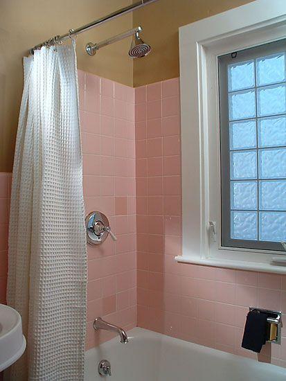 Jacquedesign Interiors Pink Retro Bath Pink Bathroom Tiles Bathroom Design Tile Bathroom