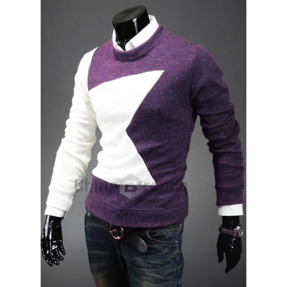 Fashion Round Neck Slimming Color Splicing Five-Pointed Star Long Sleeves Men's Sweater $8.99  70.62% off