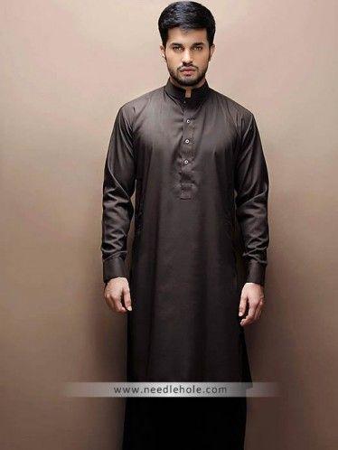 781c6bf431 Bistre kurta shalwar suit for men in cotton silk. Buttoned cuffs ...