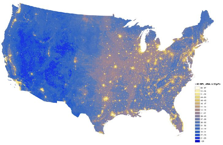 National Parks Service maps show noise levels across the USwith