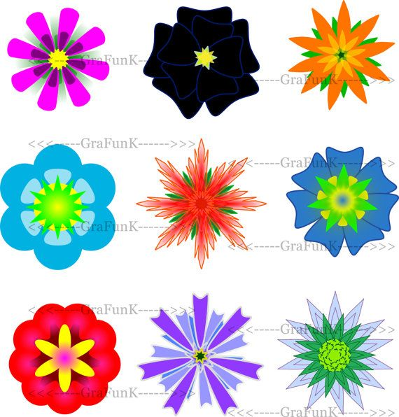 Flowers clipart red blue cyan violet black flower by GraFunK, $3.85