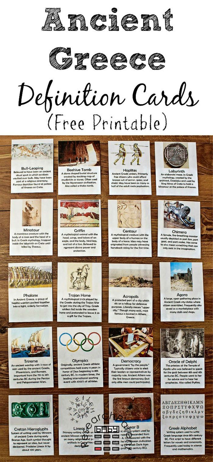 Ancient Greece Definition Cards Ancient greece, Ancient