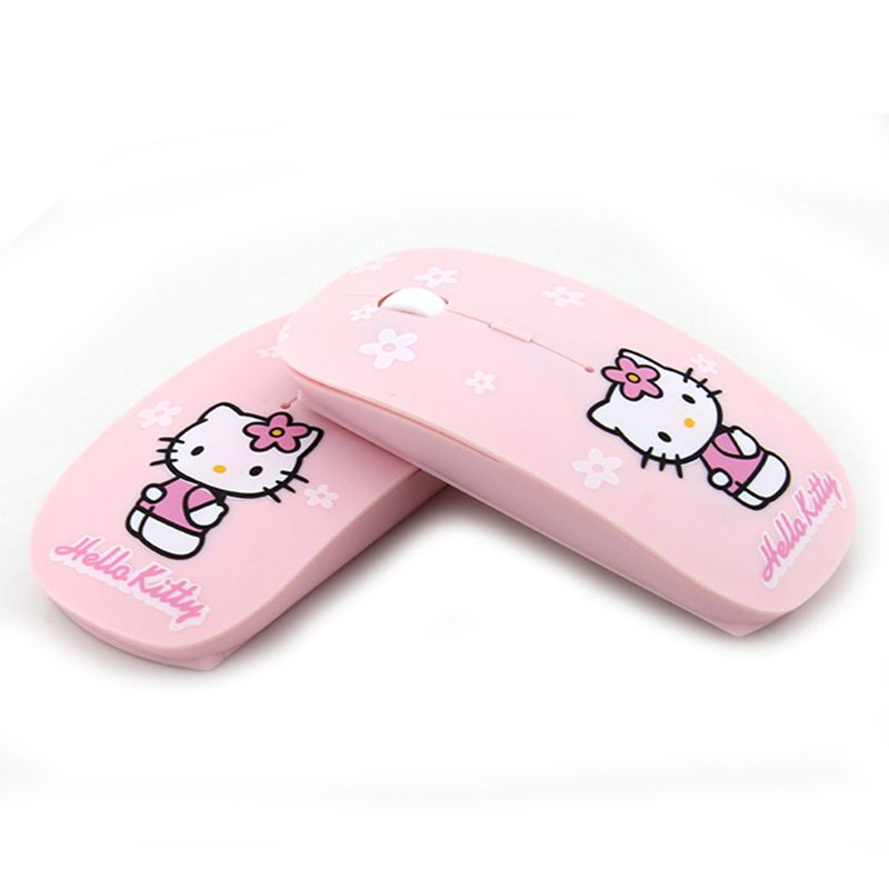 21d700b8f9c Wireless Mouse Hello Kitty Computer Mice 2.4Ghz USB Computer Mouse Pink Girl  Pro Game Mice Gift free ship