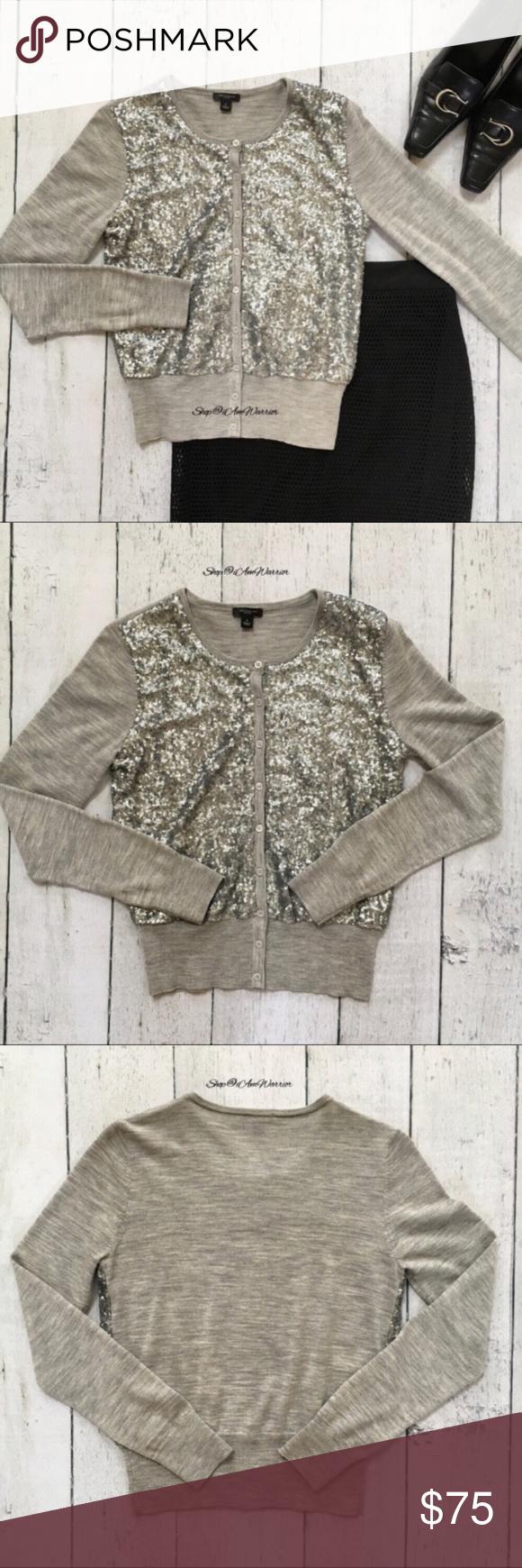 Ann Taylor gray/silver sequin cardigan | Sequin cardigan, Silver ...