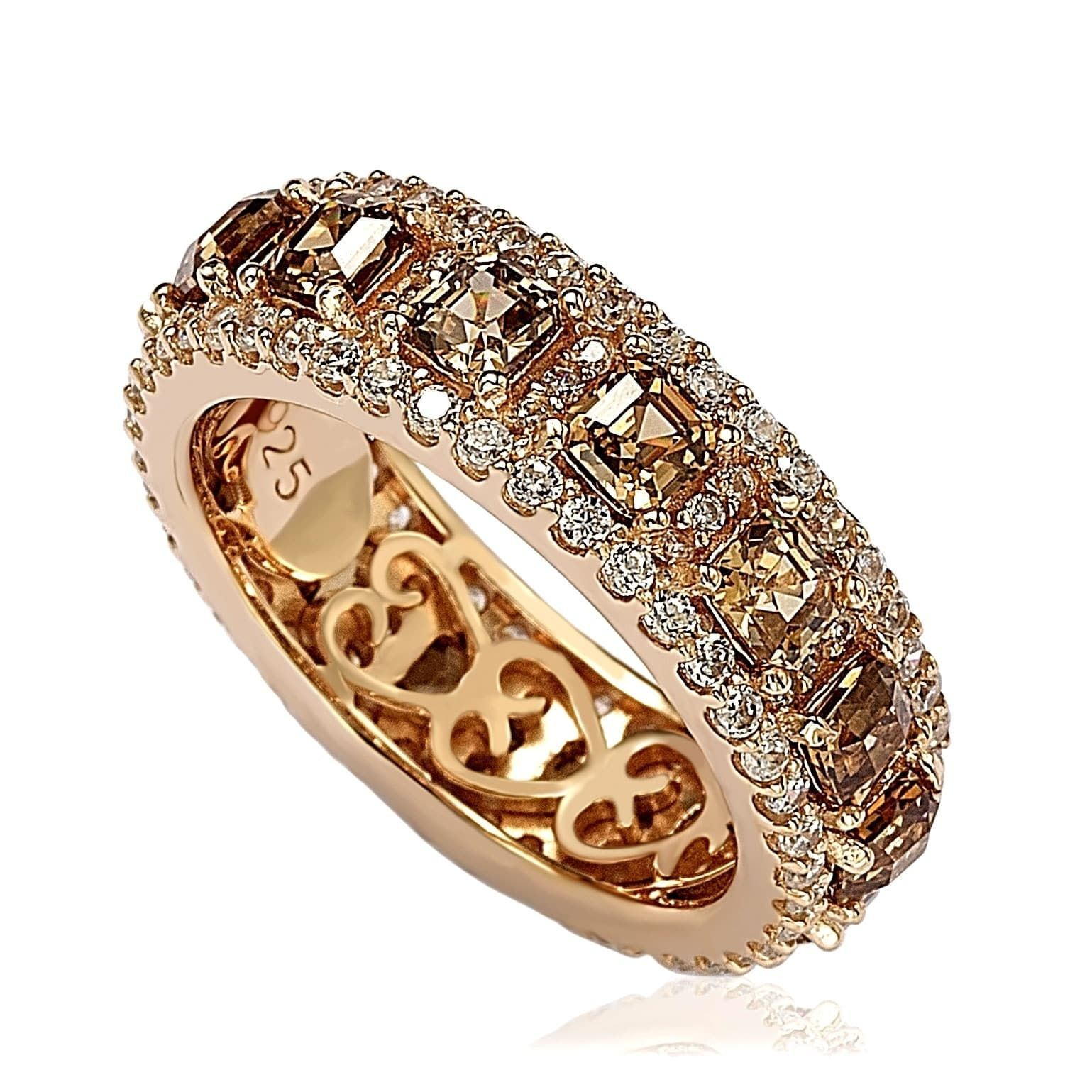 Suzy Levian Sterling Silver Cubic Zirconia Champagne and White Modern Eternity Band, Women's