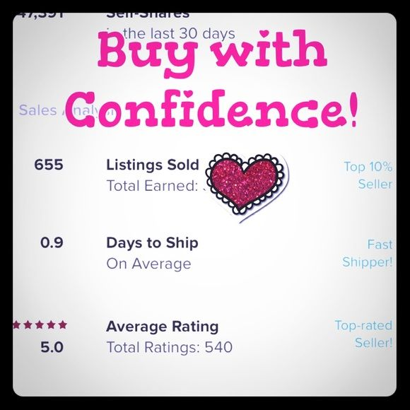 ✨🛍BUY WITH CONFIDENCE🛍✨ Thank you for all of the great reviews!  See my ratings above and buy with confidence😊!  I am also a Poshmark Suggested User.  Please feel free to let me know if you have questions on any items. Other
