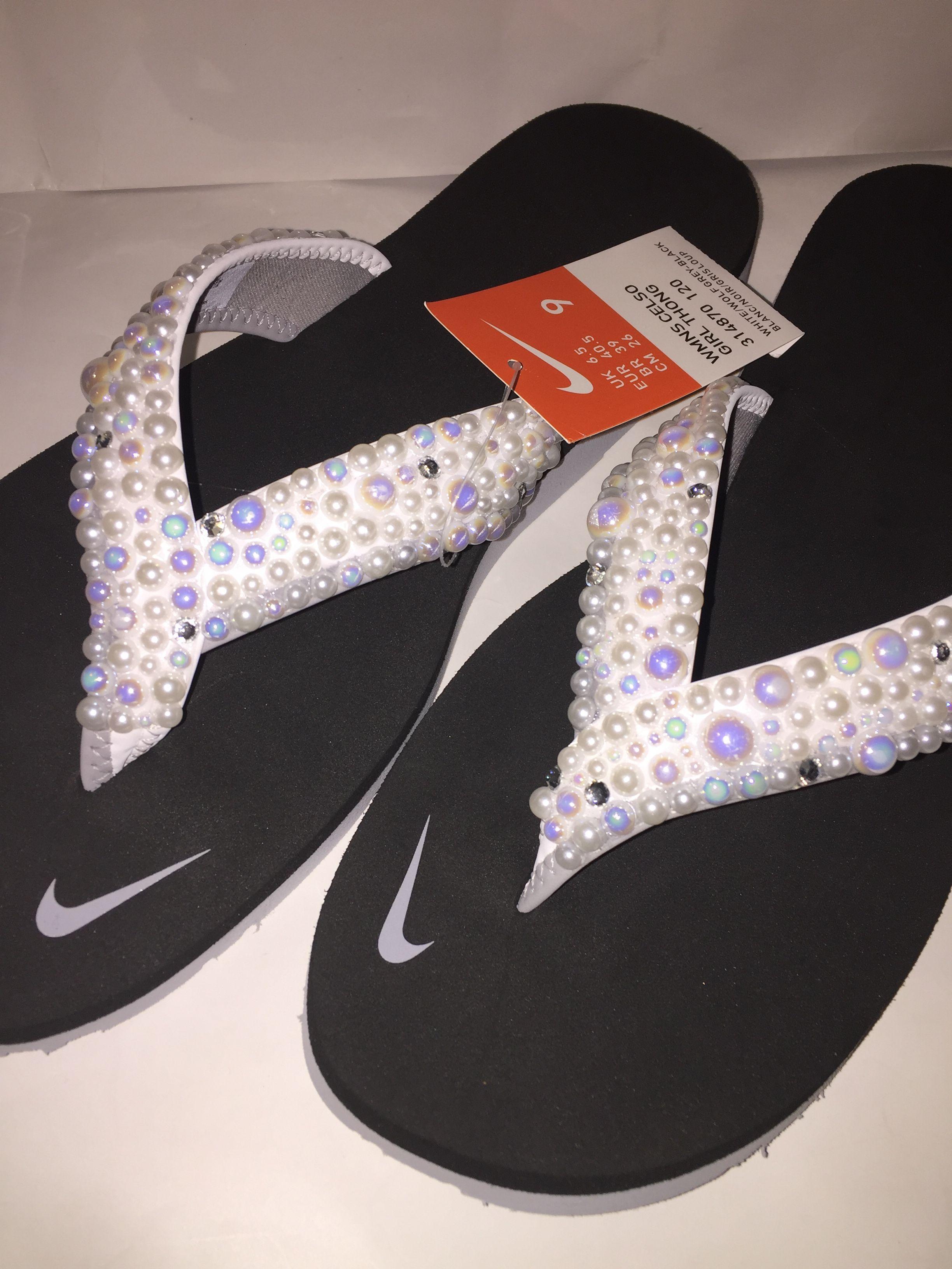 db45caf3e05bf Custom Bling Nike Flip Flop Slides Benassi Thong slides