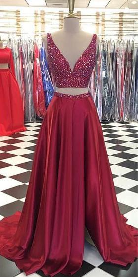 211efec397f5 2 Pieces Beaded Long Prom Dress