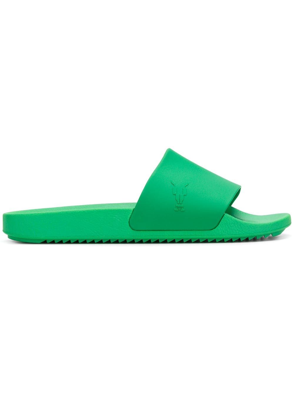 9997a53b9850 RICK OWENS DRKSHDW RICK OWENS DRKSHDW LOGO SLIDES - GREEN.   rickowensdrkshdw  shoes