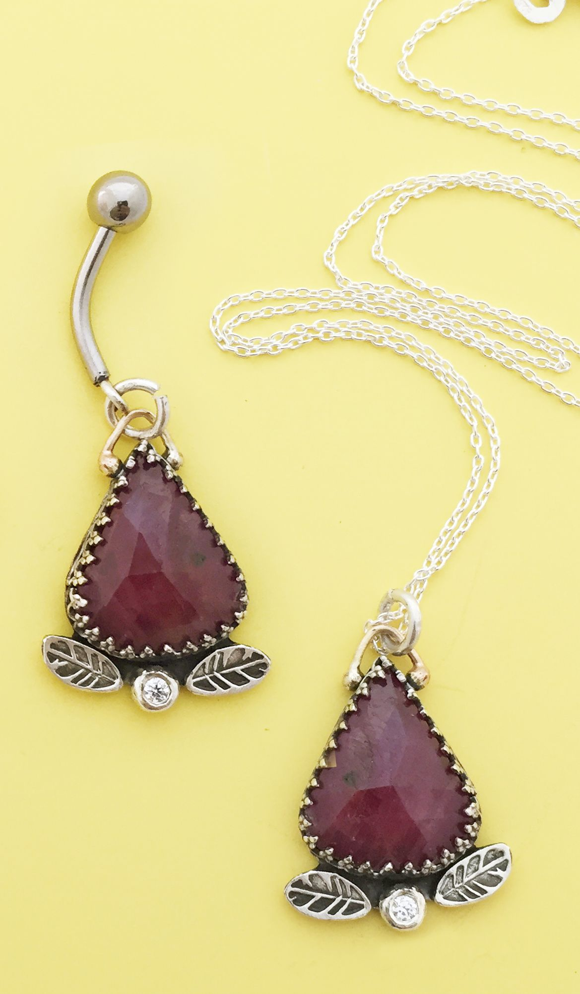 The Classiest Belly Button Ring And Necklace Ever Rose Cut Ruby