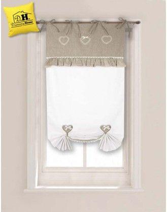 Tenda finestra cuoricini pizzo con due embrasse angelica home country collezione cuoricini 60x for Tenda bagno finestra
