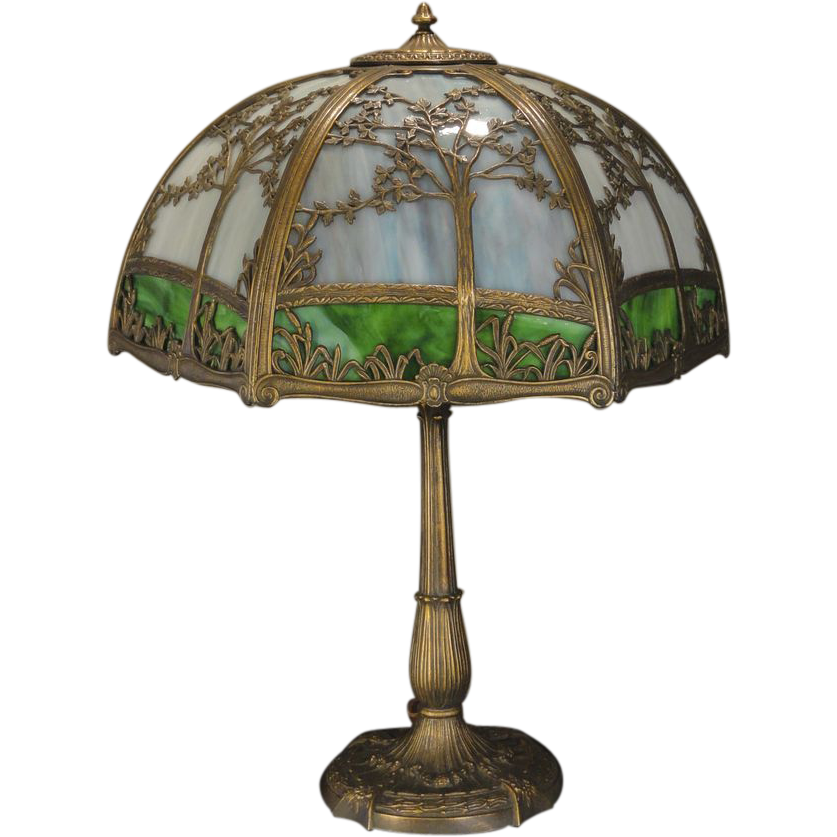 Large Tree and Cattail 12 Panel Slag Glass Scenic Lamp