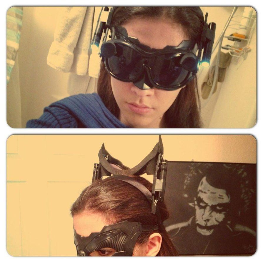 Catwoman goggles inspired by The Dark Knight Rises & DIY Catwoman goggles. WHAAA??? They have a tutorial too and it ...