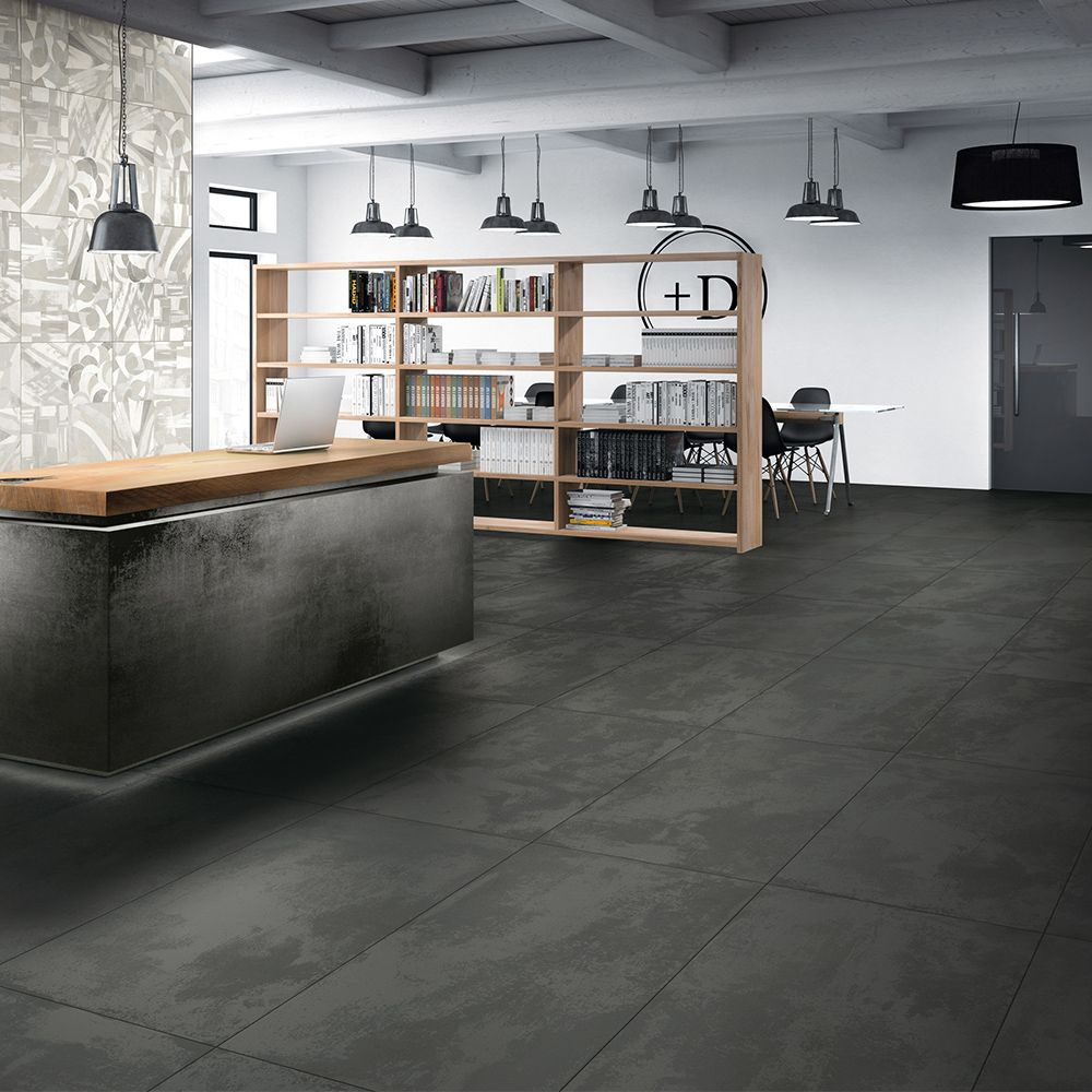Carrelage Interieur Effet Beton Use 60x120 Anthracite Naturel Rectifie Collection One De Monocibec One Carrelage Interieur Interieurs En Beton Deco Carrelage