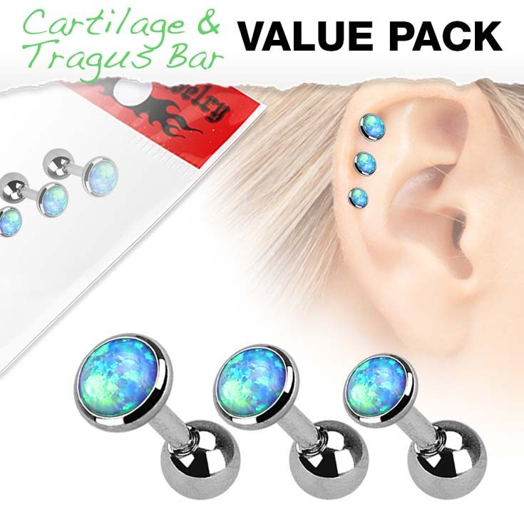 Before we wish you a good Weekend we want to introduce our new 3 Pcs Value Pack 316L Surgical Steel #Cartilage #Barbells with #Opal Set Top  #Hollywood #BodyJewelry #Piercing #Jewelry #BodyPiercing #PiercingBarbells  #Studs #BodyModification