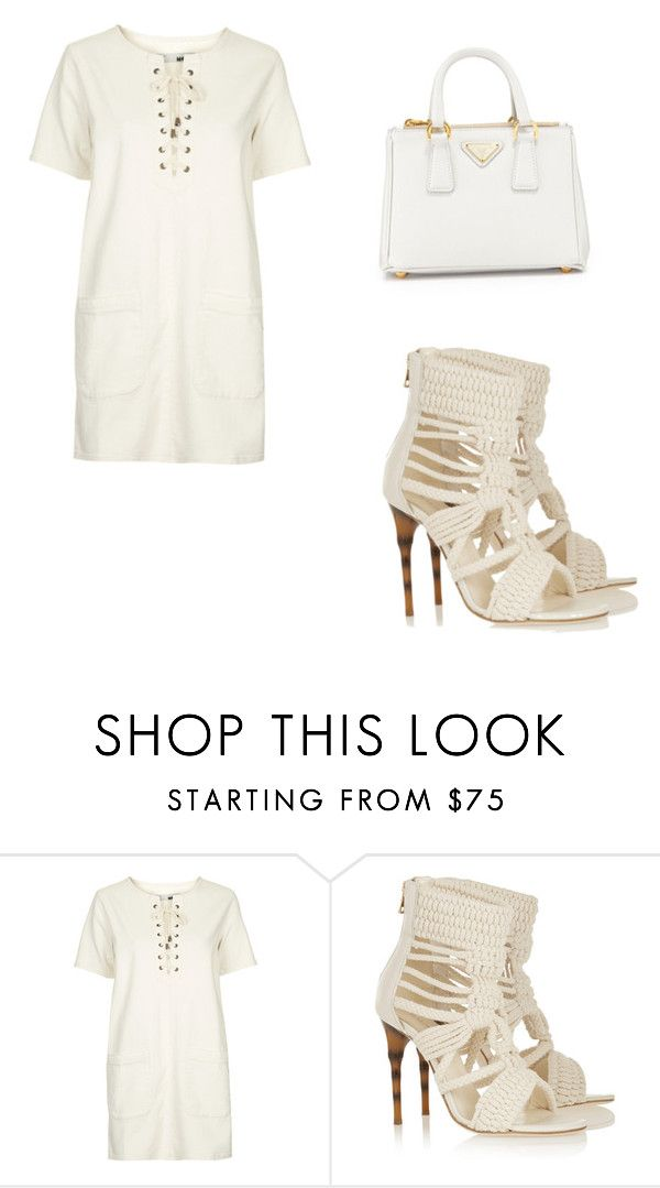 """""""Untitled #48"""" by koreanaxo ❤ liked on Polyvore featuring Topshop, Balmain and Prada"""