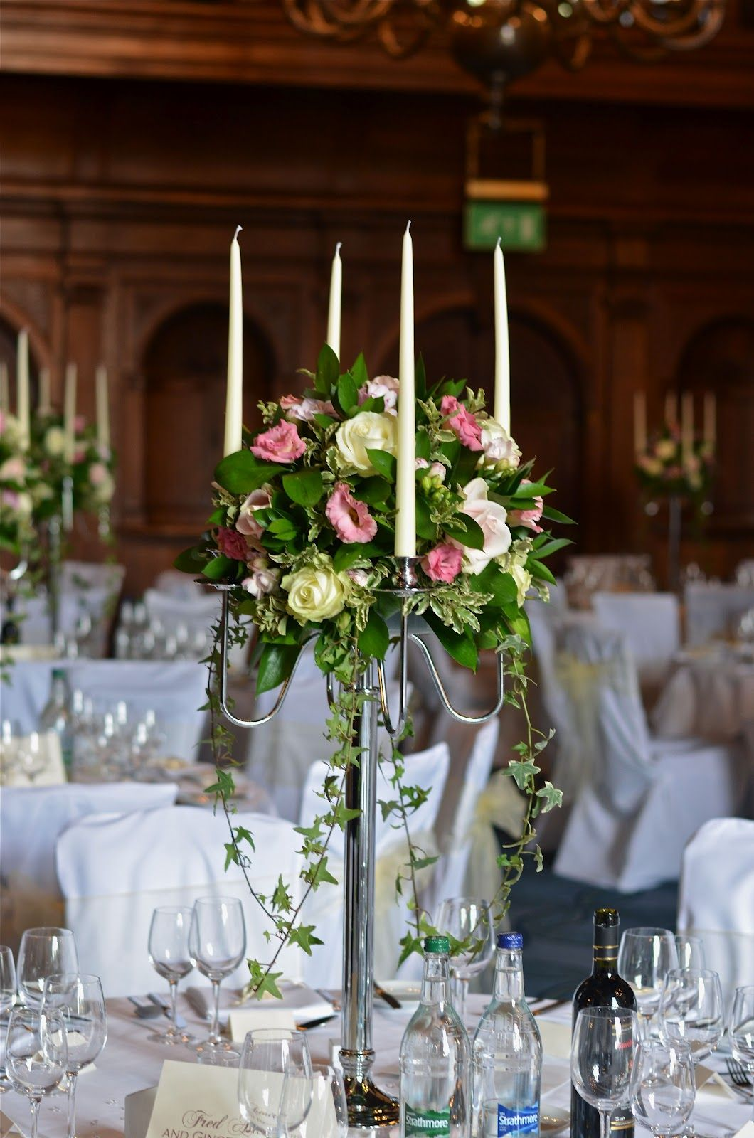 Wedding Flowers Blog: Kate's Easter Wedding Flowers - Rhinefield House  Love the ivies in this wedding arrangement! Should be made with thistle in a tartan wedding of course.