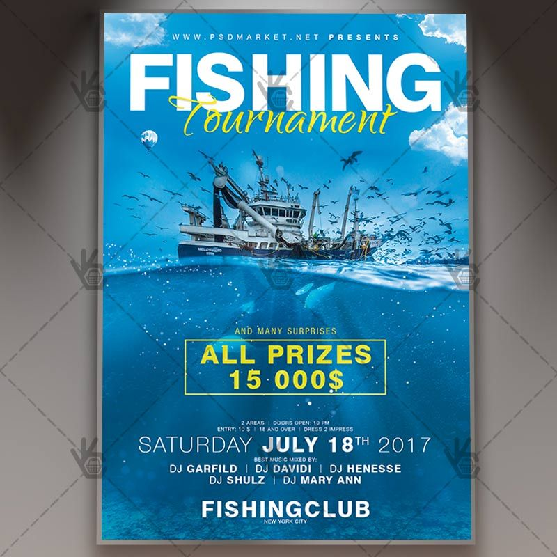 Fishing Tournament Premium Flyer Psd Template Psdmarket Fishing Tournaments Flyer Template Psd Templates