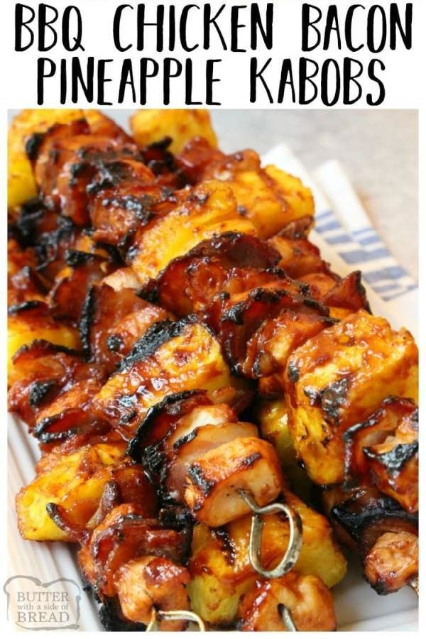 Photo of BBQ Chicken Kabobs with Bacon and Pineapple