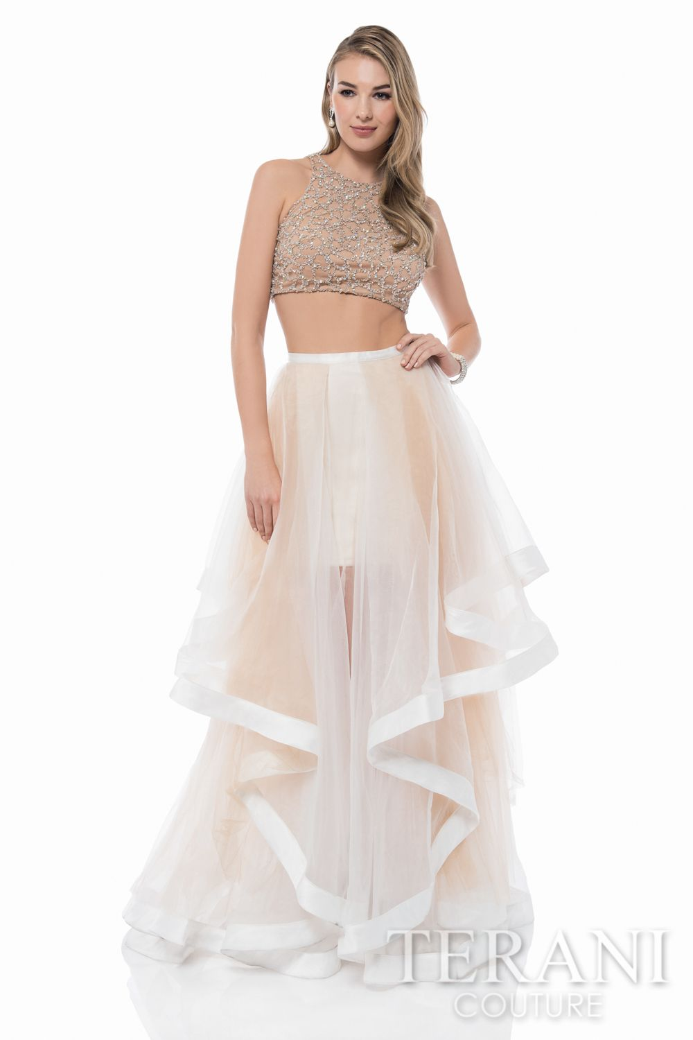 2a081aee8aa5b Beautiful+2-piece+ensemble +featuring+a+nude,+crystal+embellished+illusion+midriff+top+and+sheer,+gathered+mesh+skirt+with+ribbon+accented+high-low+hemline.