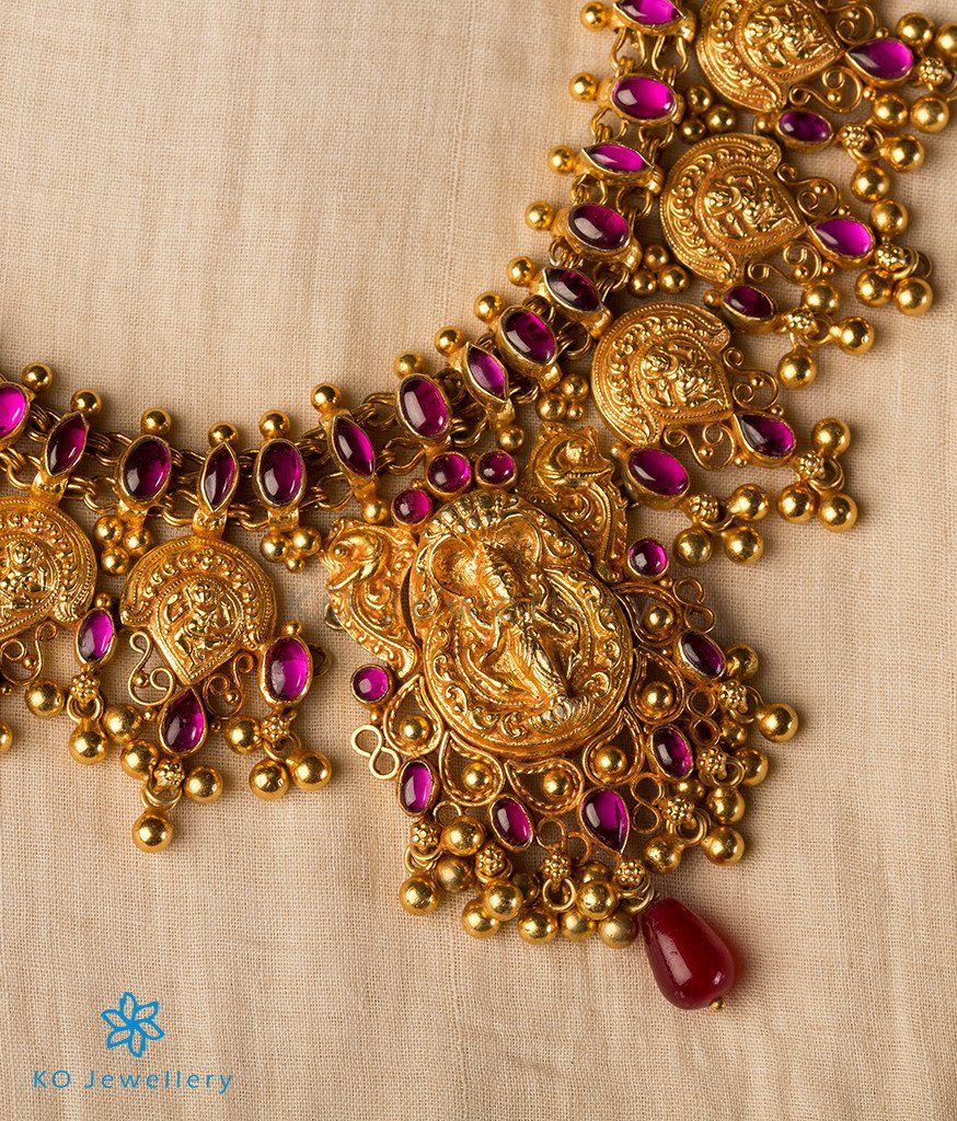 9cc68e9d9e7 The Pragya Silver Nakkasi Necklace-Buy Real Temple Jewellery Online - KO  Jewellery