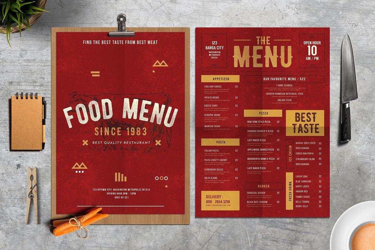 Rustic Food Menu Food Menu Food Menu Template Menu Card Design