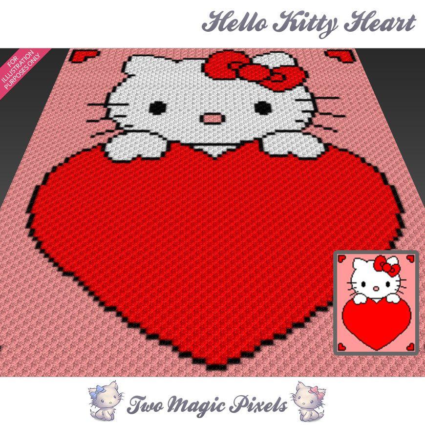 Hello Kitty Heart crochet blanket pattern; c2c, cross stitch; graph ...