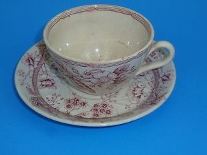 Antique English Cranberry Red Transferware Cup and Saucer Strawberry Windsor | eBay
