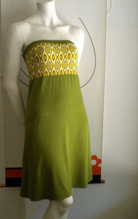 Strapless colourful cotton viscose dress by bedilaeleni on Etsy, $50.00