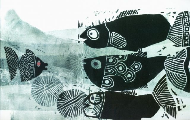 Farshid Mesghali, illustration fromLittle Black Fish, 1968